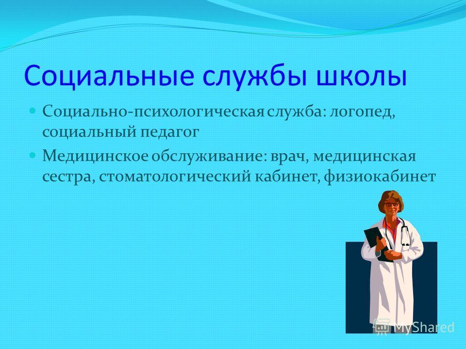 Социальные службы школы Социально-психологическая служба: логопед, социальный педагог Медицинское обслуживание: врач, медицинская сестра, стоматологический кабинет, физиокабинет