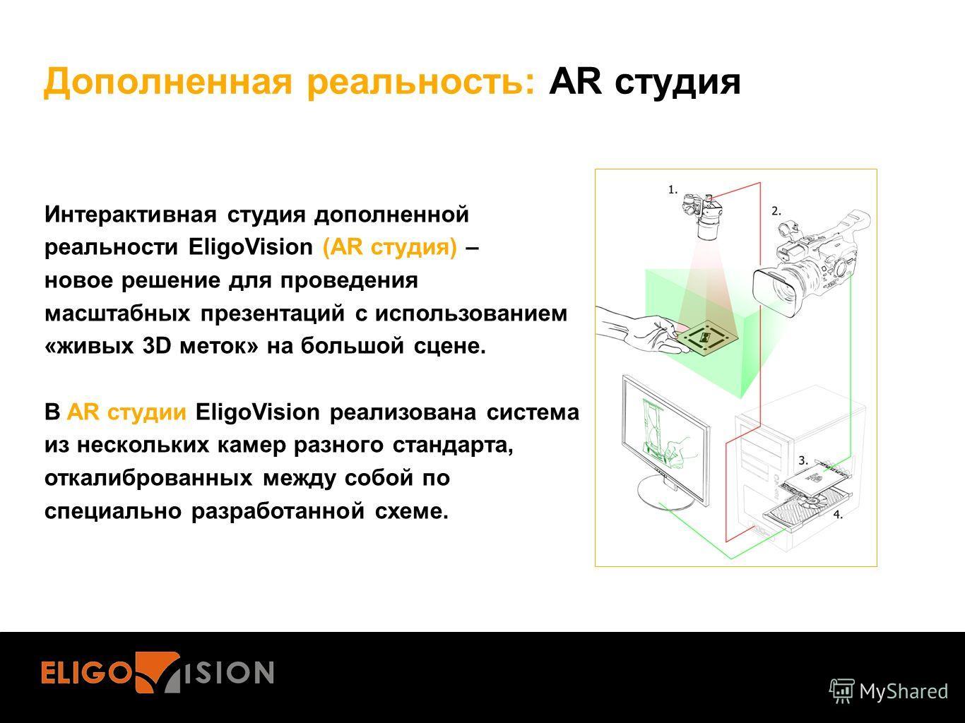 Дополненная реальность: AR студия Интерактивная студия дополненной реальности EligoVision (AR студия) – новое решение для проведения масштабных презентаций с использованием «живых 3D меток» на большой сцене. В AR студии EligoVision реализована систем