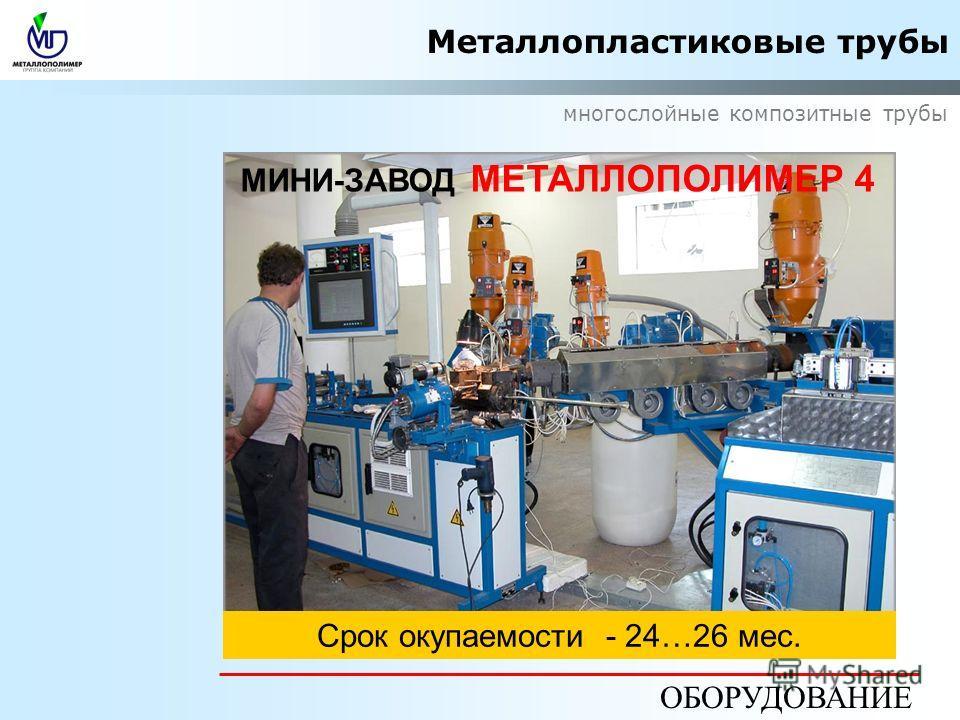 Металлопластиковые трубы многослойные композитные трубы ОБОРУДОВАНИЕ МИНИ-ЗАВОД МЕТАЛЛОПОЛИМЕР 4 Цена FCA Москва от EUR 482 000-Cрок окупаемости - 24…26 мес.