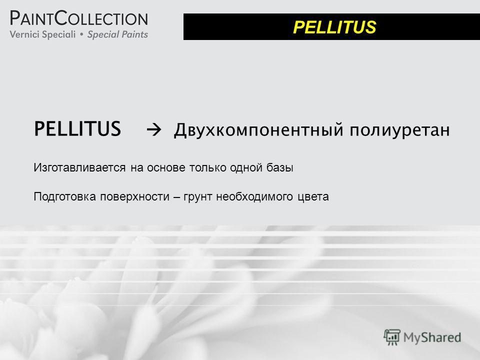 PELLITUS Двухкомпонентный полиуретан Изготавливается на основе только одной базы Подготовка поверхности – грунт необходимого цвета PELLITUS