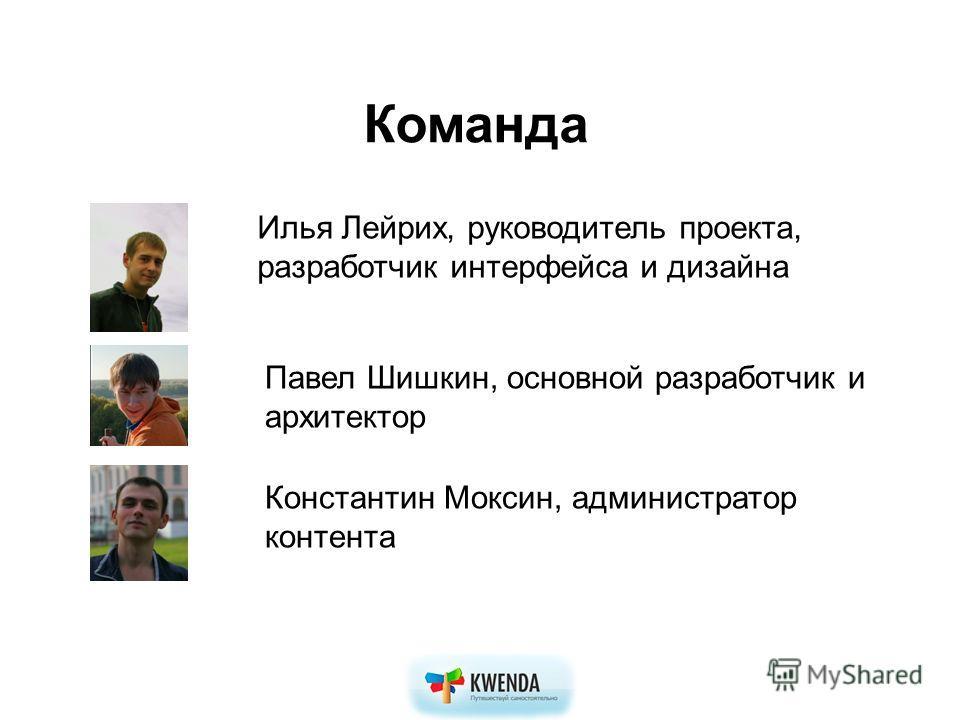 Команда Константин Моксин, администратор контента Илья Лейрих, руководитель проекта, разработчик интерфейса и дизайна Павел Шишкин, основной разработчик и архитектор