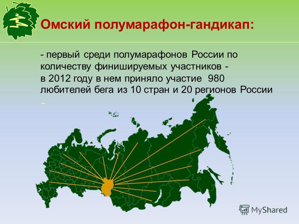 Омский полумарафон-гандикап: - первый среди полумарафонов России по количеству финишируемых участников - в 2012 году в нем приняло участие 980 любителей бега из 10 стран и 20 регионов России -