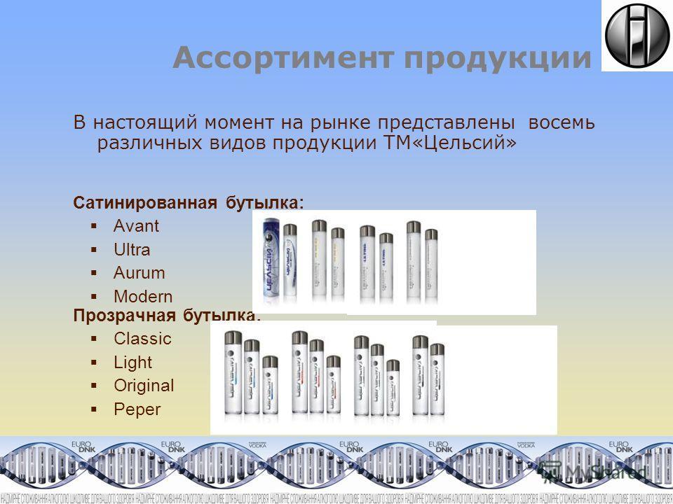 Ассортимент продукции В настоящий момент на рынке представлены восемь различных видов продукции ТМ«Цельсий» Сатинированная бутылка: Avant Ultra Aurum Modern Прозрачная бутылка: Classiс Light Original Peper