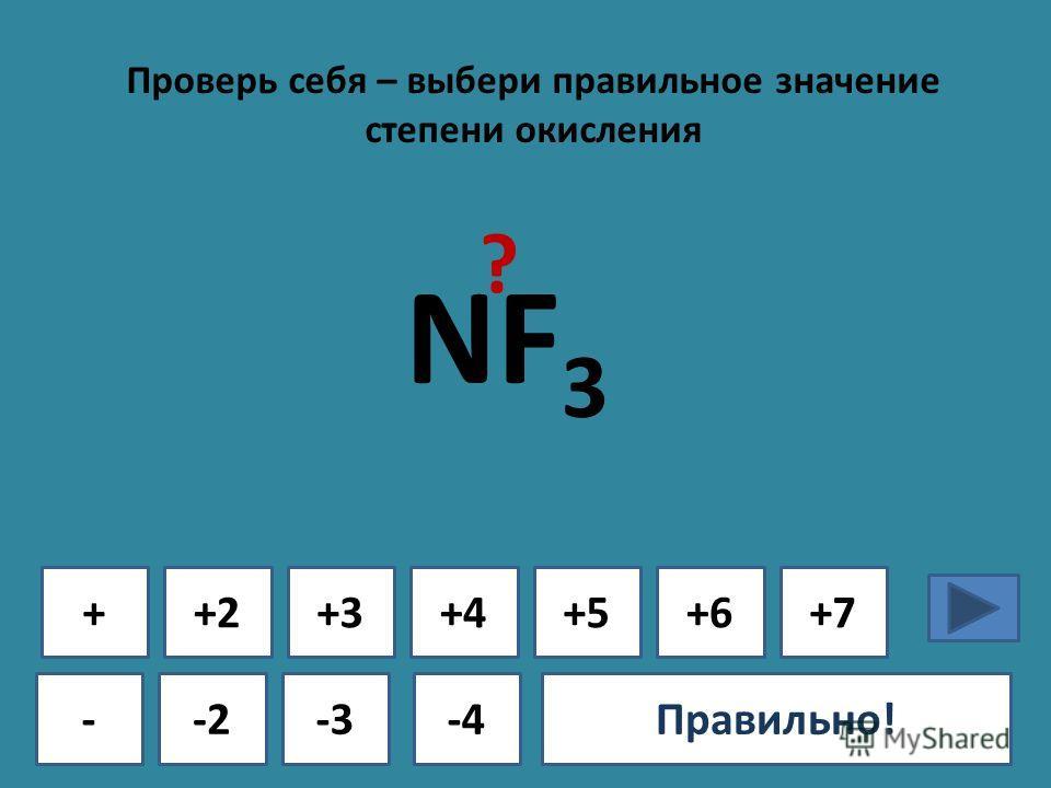 Проверь себя – выбери правильное значение степени окисления + - +2+3+4+5+6+7 -2-3-4Ошибка!Правильно! NF 3 ?