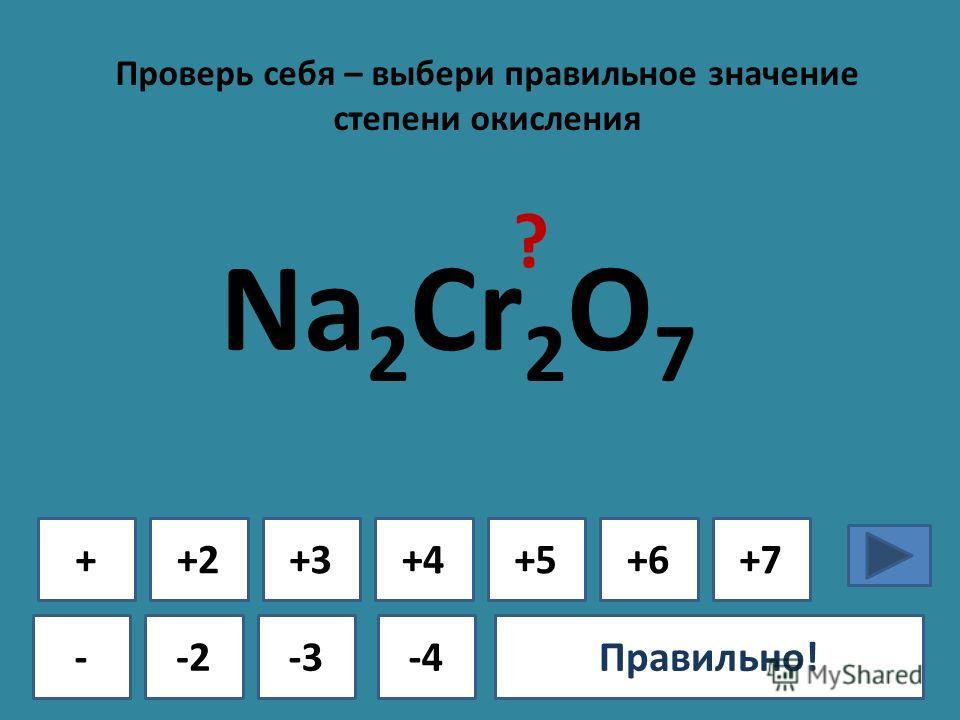 Проверь себя – выбери правильное значение степени окисления + - +2+3+4+5+6+7 -2-3-4Ошибка!Правильно! Na 2 Cr 2 O 7 ?