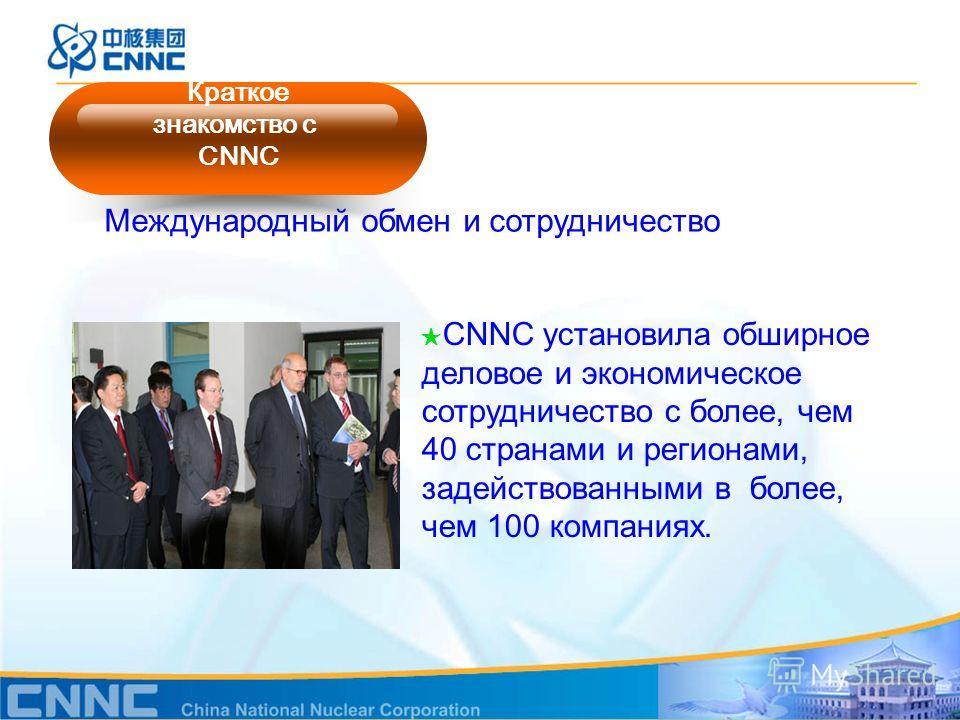 Международный обмен и сотрудничество CNNC установила обширное деловое и экономическое сотрудничество с более, чем 40 странами и регионами, задействованными в более, чем 100 компаниях. Краткое знакомство с CNNC