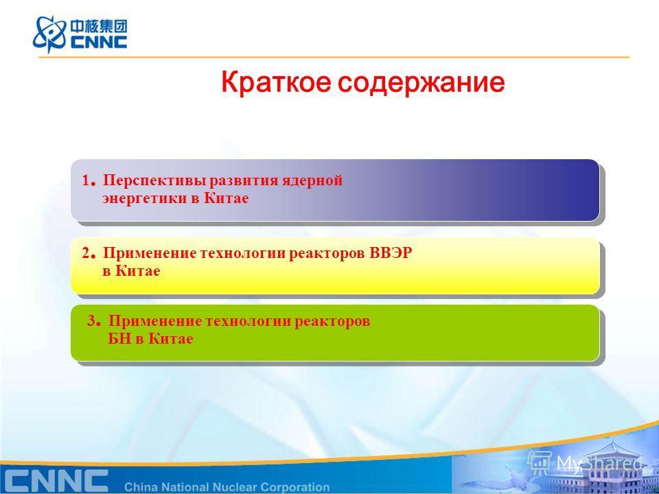 1. Перспективы развития ядерной энергетики в Китае Краткое содержание 2. Применение технологии реакторов ВВЭР в Китае 3. Применение технологии реакторов БН в Китае