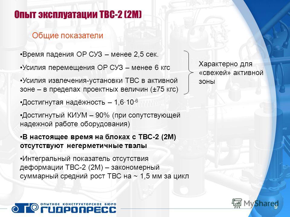 9 Опыт эксплуатации ТВС-2 (2М) Общие показатели Время падения ОР СУЗ – менее 2,5 сек. Усилия перемещения ОР СУЗ – менее 6 кгс Усилия извлечения-установки ТВС в активной зоне – в пределах проектных величин (±75 кгс) Достигнутая надёжность – 1,6·10 -6