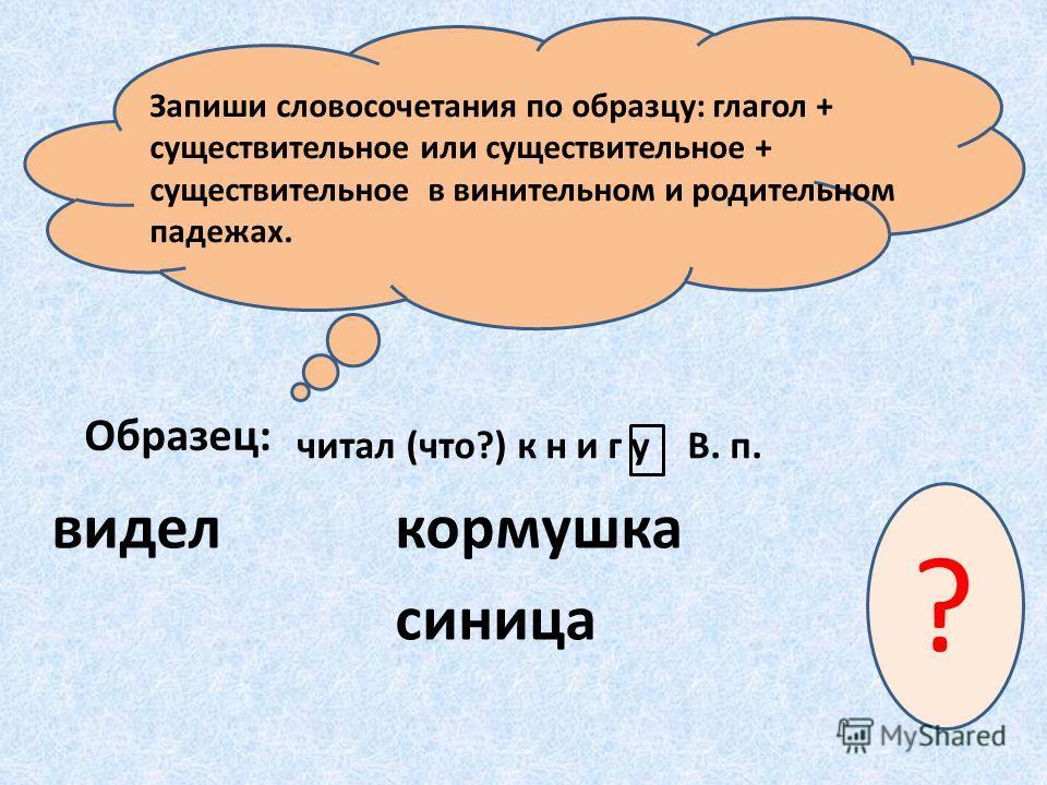 Запиши словосочетания по образцу: глагол + существительное или существительное + существительное в винительном и родительном падежах. читал (что?) книгу В. п. видел Образец: кормушка синица ?