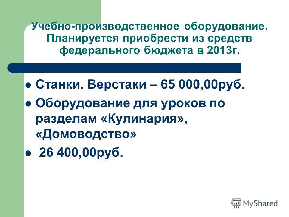 Учебно-производственное оборудование. Планируется приобрести из средств федерального бюджета в 2013г. Станки. Верстаки – 65 000,00руб. Оборудование для уроков по разделам «Кулинария», «Домоводство» 26 400,00руб.