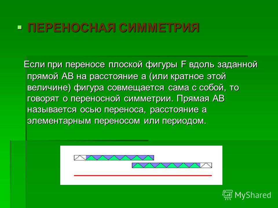 ПЕРЕНОСНАЯ СИММЕТРИЯ ПЕРЕНОСНАЯ СИММЕТРИЯ Если при переносе плоской фигуры F вдоль заданной прямой АВ на расстояние а (или кратное этой величине) фигура совмещается сама с собой, то говорят о переносной симметрии. Прямая АВ называется осью переноса,