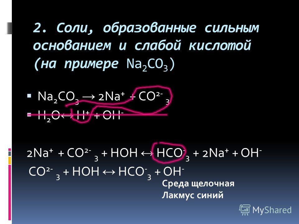 2. Соли, образованные сильным основанием и слабой кислотой (на примере Na 2 CO 3 ) Na 2 CO 3 2Na + + CO 2- 3 H 2 O H + + OH - 2Na + + CO 2- 3 + HOH HCO - 3 + 2Na + + OH - CO 2- 3 + HOH HCO - 3 + OH - Среда щелочная Лакмус синий