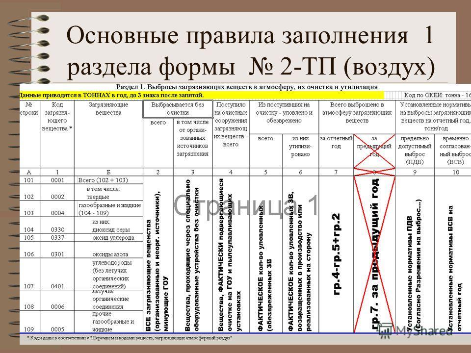 Основные правила заполнения 1 раздела формы 2-ТП (воздух)