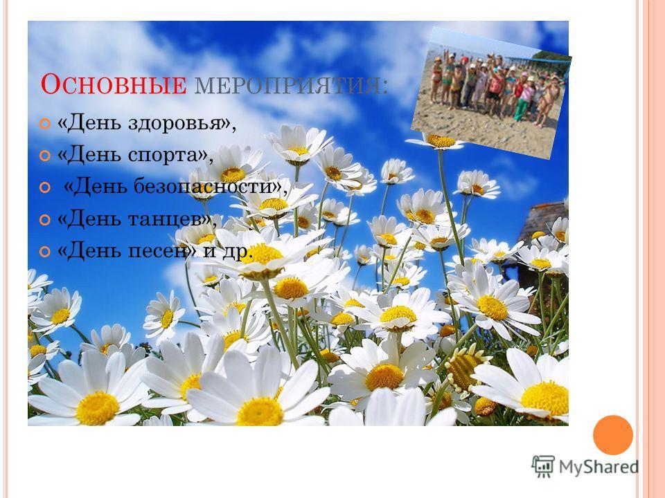 О СНОВНЫЕ МЕРОПРИЯТИЯ : «День здоровья», «День спорта», «День безопасности», «День танцев», «День песен» и др.