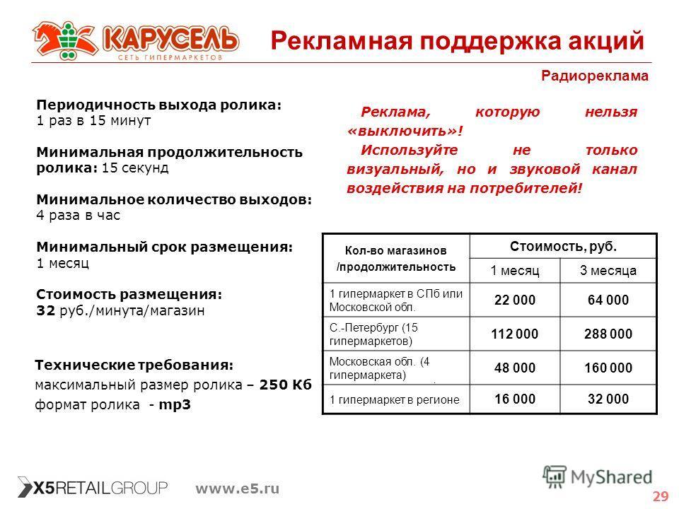 29 www.e5.ru Рекламная поддержка акций Радиореклама Реклама, которую нельзя «выключить»! Используйте не только визуальный, но и звуковой канал воздействия на потребителей! Периодичность выхода ролика: 1 раз в 15 минут Минимальная продолжительность ро