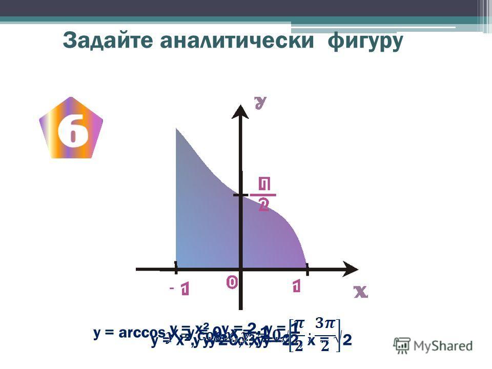 Задайте аналитически фигуру y = х², у = 0, х = -2, х = 2y = 2 - х², у =1 у = х², у = 2 у = х², у = 2, у = 1 y = arccos x, у = 0, x = -1