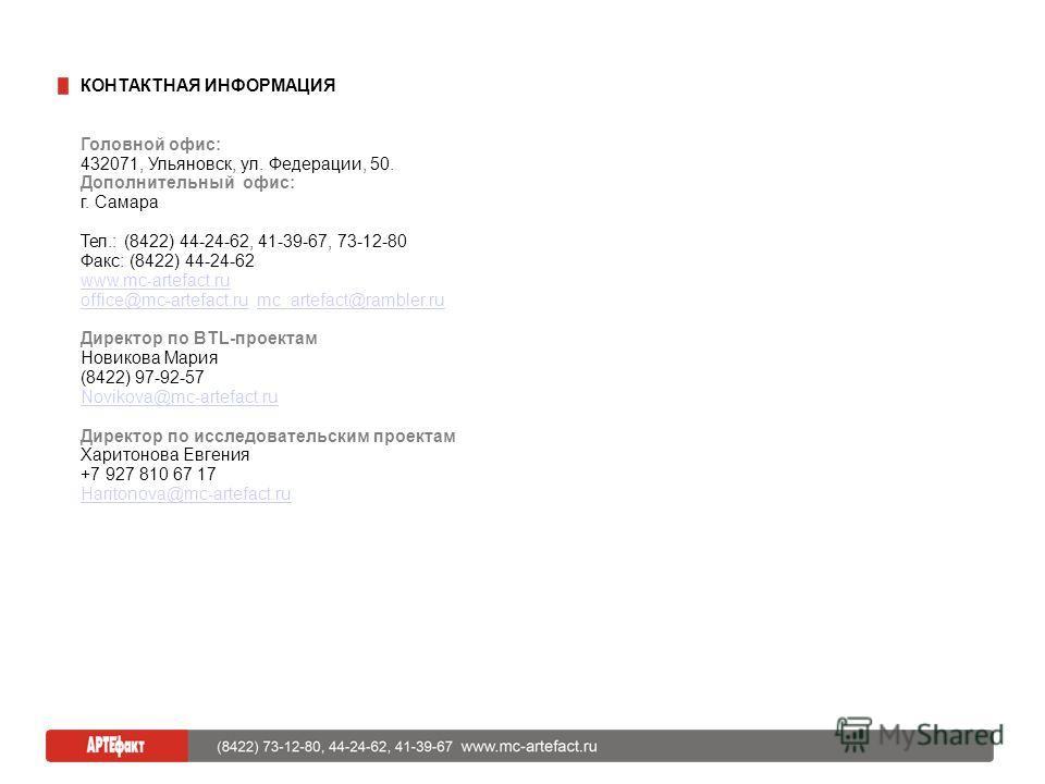 КОНТАКТНАЯ ИНФОРМАЦИЯ Головной офис: 432071, Ульяновск, ул. Федерации, 50. Дополнительный офис: г. Самара Тел.: (8422) 44-24-62, 41-39-67, 73-12-80 Факс: (8422) 44-24-62 www.mc-artefact.ru office@mc-artefact.ruoffice@mc-artefact.ru mc_artefact@ramble