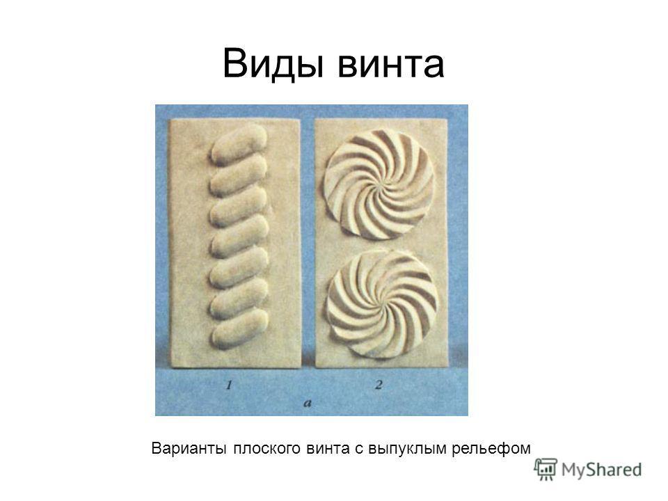 Виды винта Варианты плоского винта с выпуклым рельефом