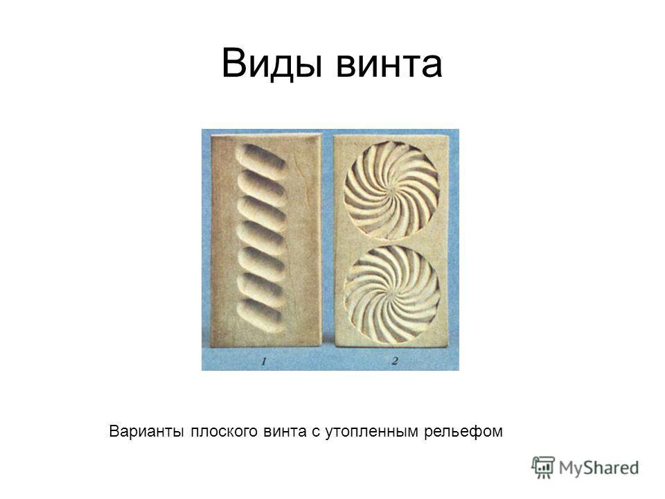 Виды винта Варианты плоского винта с утопленным рельефом