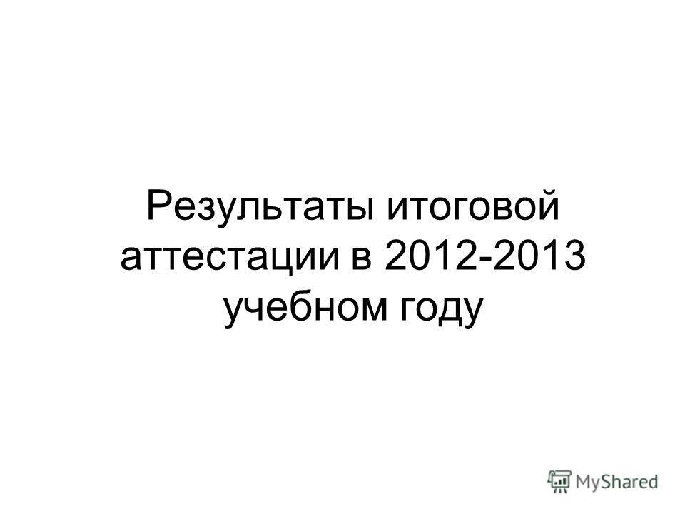 Результаты итоговой аттестации в 2012-2013 учебном году