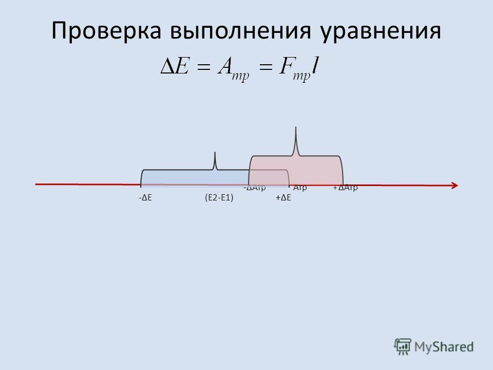 Проверка выполнения уравнения -ΔЕ (E2-E1) +ΔЕ -ΔАтр Атр + ΔАтр