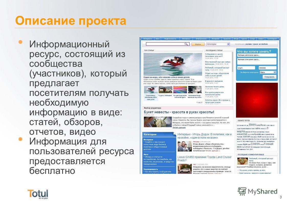 Описание проекта Информационный ресурс, состоящий из сообщества (участников), который предлагает посетителям получать необходимую информацию в виде: статей, обзоров, отчетов, видео Информация для пользователей ресурса предоставляется бесплатно 3