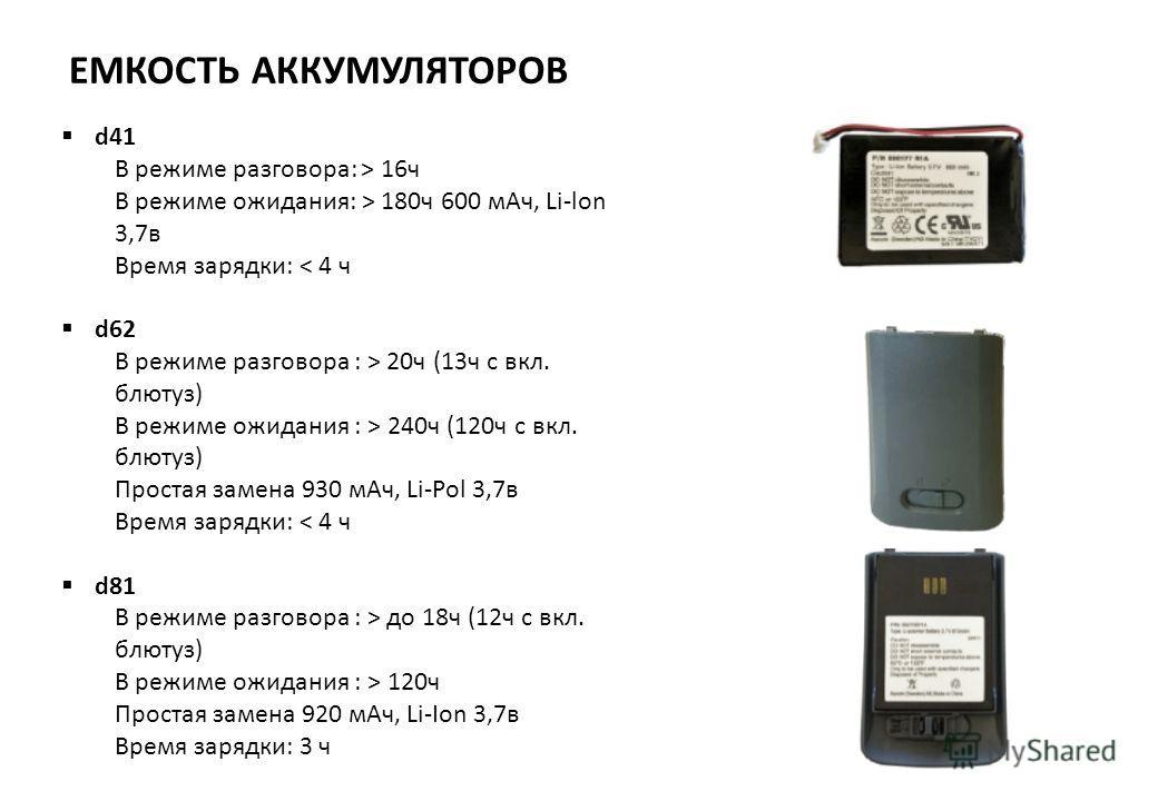 ЕМКОСТЬ АККУМУЛЯТОРОВ d41 В режиме разговора: > 16ч В режиме ожидания: > 180ч 600 мАч, Li-lon 3,7в Время зарядки: < 4 ч d62 В режиме разговора : > 20ч (13ч с вкл. блютуз) В режиме ожидания : > 240ч (120ч с вкл. блютуз) Простая замена 930 мАч, Li-Pol