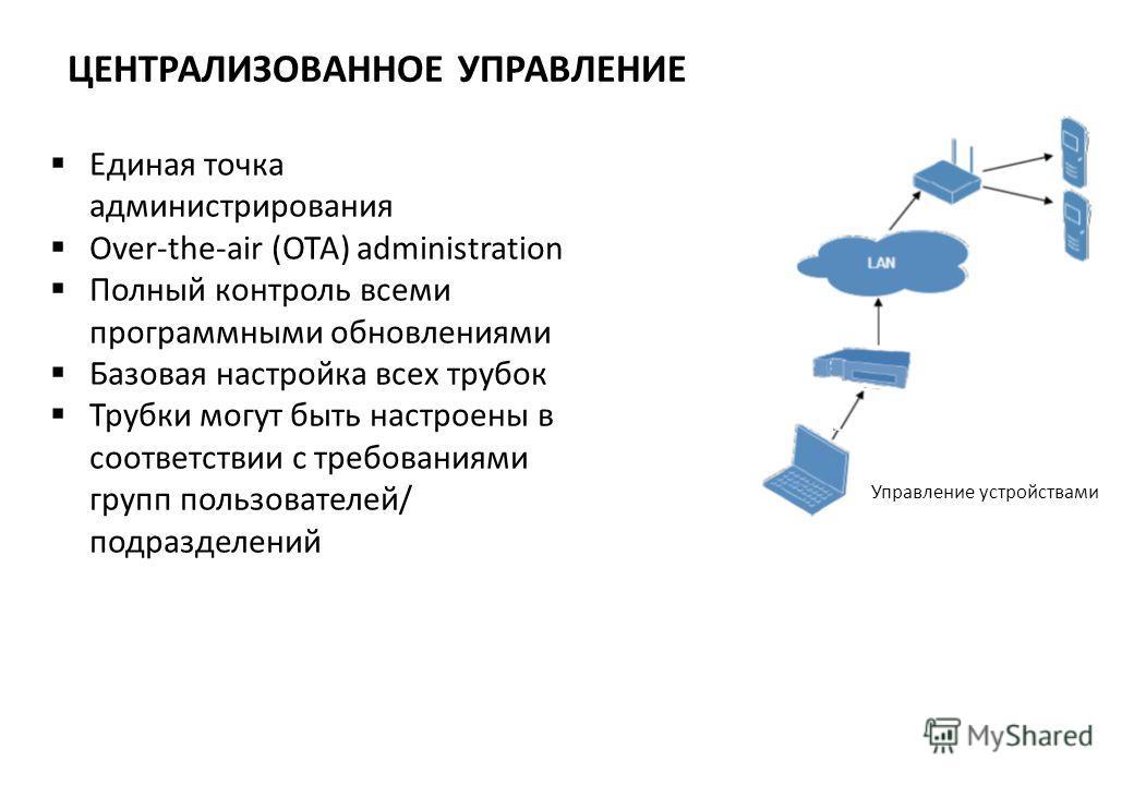 ЦЕНТРАЛИЗОВАННОЕ УПРАВЛЕНИЕ Единая точка администрирования Over-the-air (OTA) administration Полный контроль всеми программными обновлениями Базовая настройка всех трубок Трубки могут быть настроены в соответствии с требованиями групп пользователей/