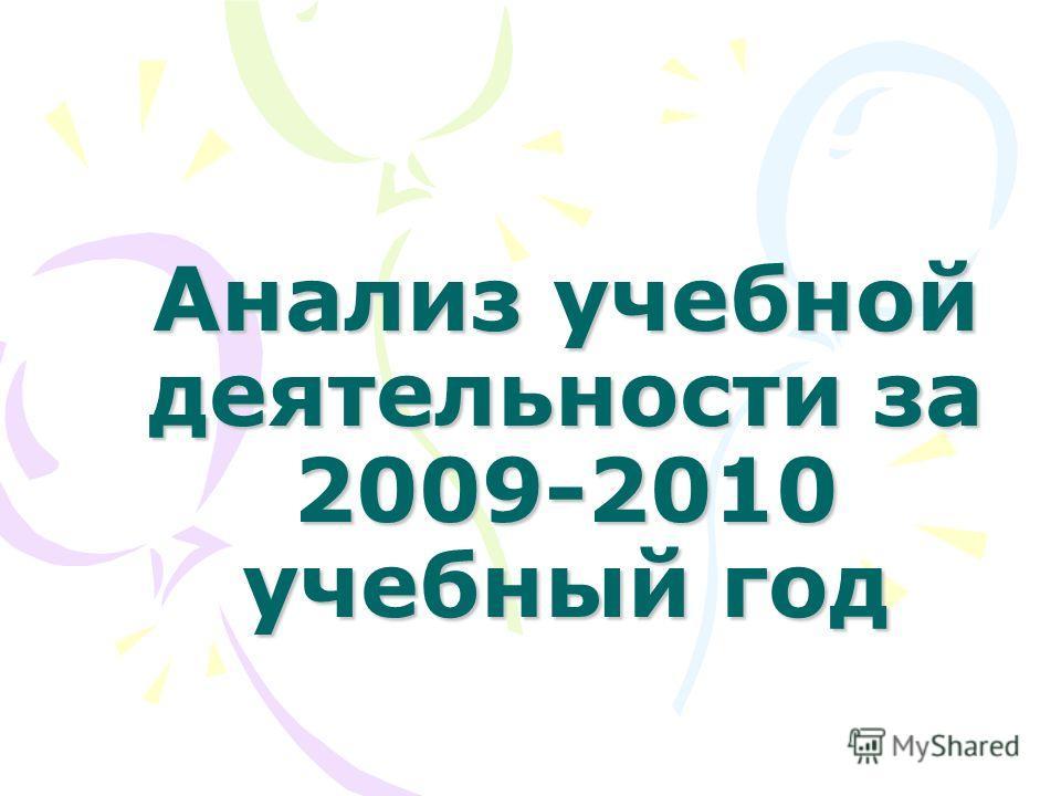 Анализ учебной деятельности за 2009-2010 учебный год