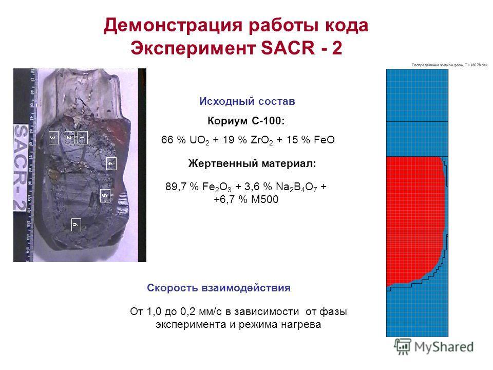Демонстрация работы кода Эксперимент SACR - 2 Кориум С-100: 66 % UO 2 + 19 % ZrO 2 + 15 % FeO Жертвенный материал: 89,7 % Fe 2 O 3 + 3,6 % Na 2 B 4 O 7 + +6,7 % M500 Исходный состав Скорость взаимодействия От 1,0 до 0,2 мм/с в зависимости от фазы экс