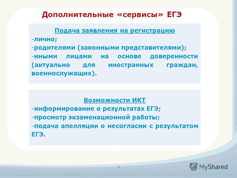 Дополнительные «сервисы» ЕГЭ 8 Подача заявления на регистрацию -лично; -родителями (законными представителями); -иными лицами на основе доверенности (актуально для иностранных граждан, военнослужащих). Возможности ИКТ -информирование о результатах ЕГ
