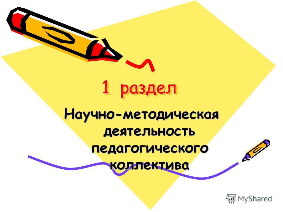 1 раздел Научно-методическая деятельность педагогического коллектива