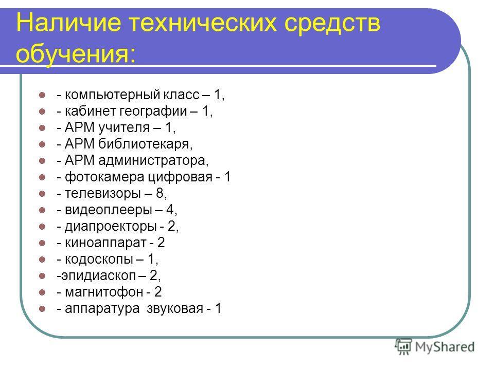 Наличие технических средств обучения: - компьютерный класс – 1, - кабинет географии – 1, - АРМ учителя – 1, - АРМ библиотекаря, - АРМ администратора, - фотокамера цифровая - 1 - телевизоры – 8, - видеоплееры – 4, - диапроекторы - 2, - киноаппарат - 2