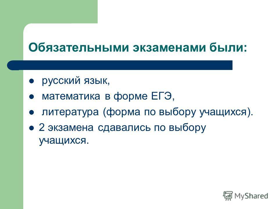 Обязательными экзаменами были: русский язык, математика в форме ЕГЭ, литература (форма по выбору учащихся). 2 экзамена сдавались по выбору учащихся.