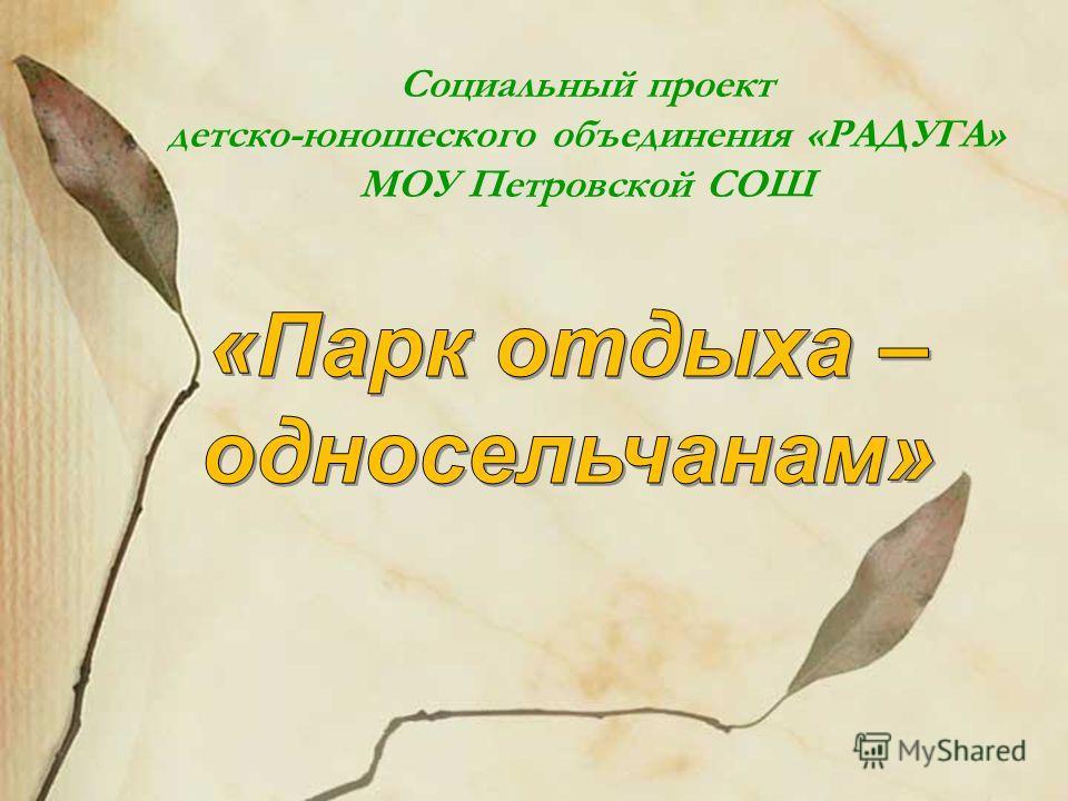 Социальный проект детско-юношеского объединения «РАДУГА» МОУ Петровской СОШ