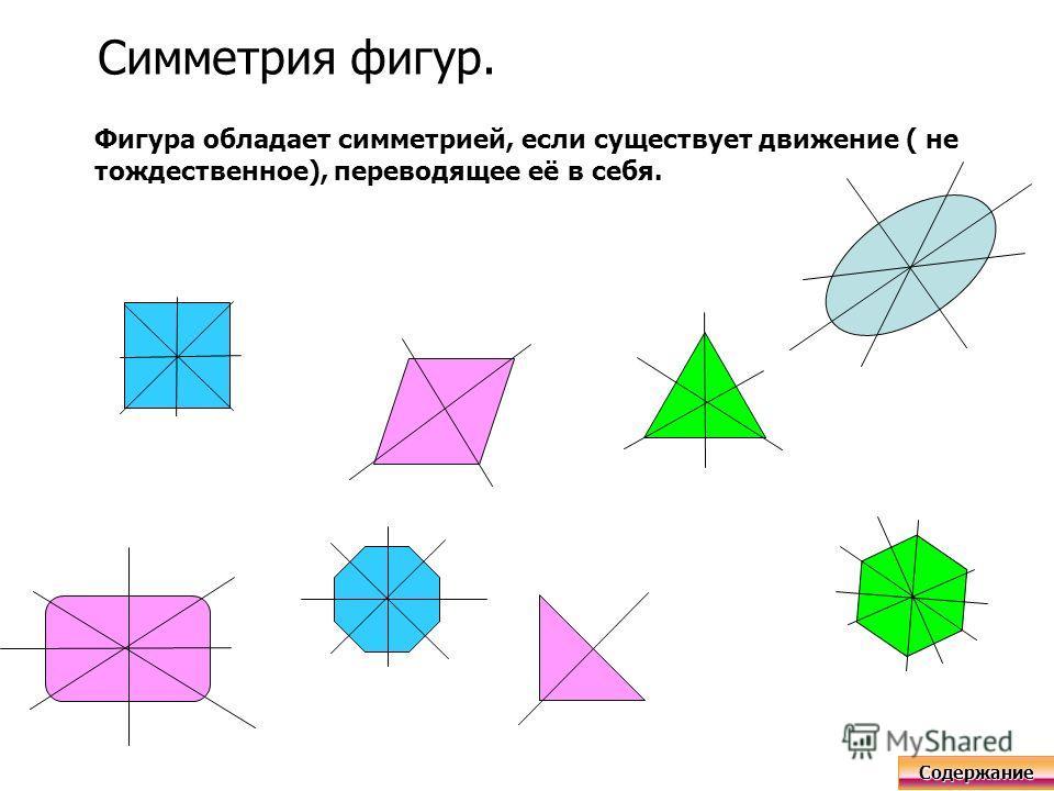Симметрия фигур. Фигура обладает симметрией, если существует движение ( не тождественное), переводящее её в себя. Содержание