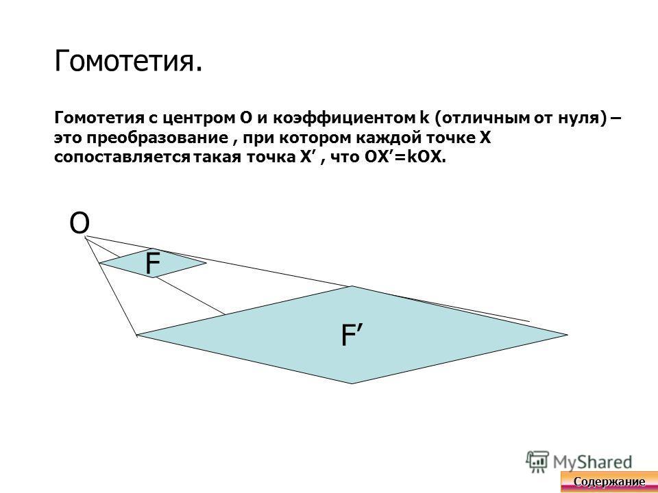 Гомотетия. Гомотетия с центром О и коэффициентом k (отличным от нуля) – это преобразование, при котором каждой точке X сопоставляется такая точка X, что OX=kOX. F F O Содержание