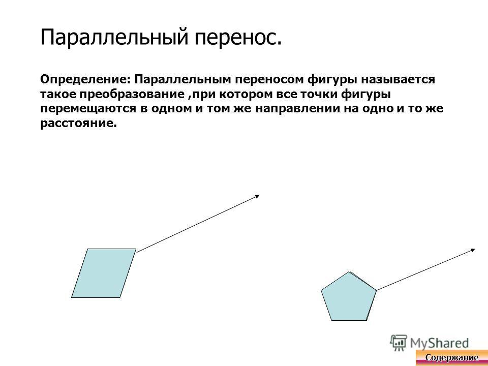 Параллельный перенос. Определение: Параллельным переносом фигуры называется такое преобразование,при котором все точки фигуры перемещаются в одном и том же направлении на одно и то же расстояние. Содержание