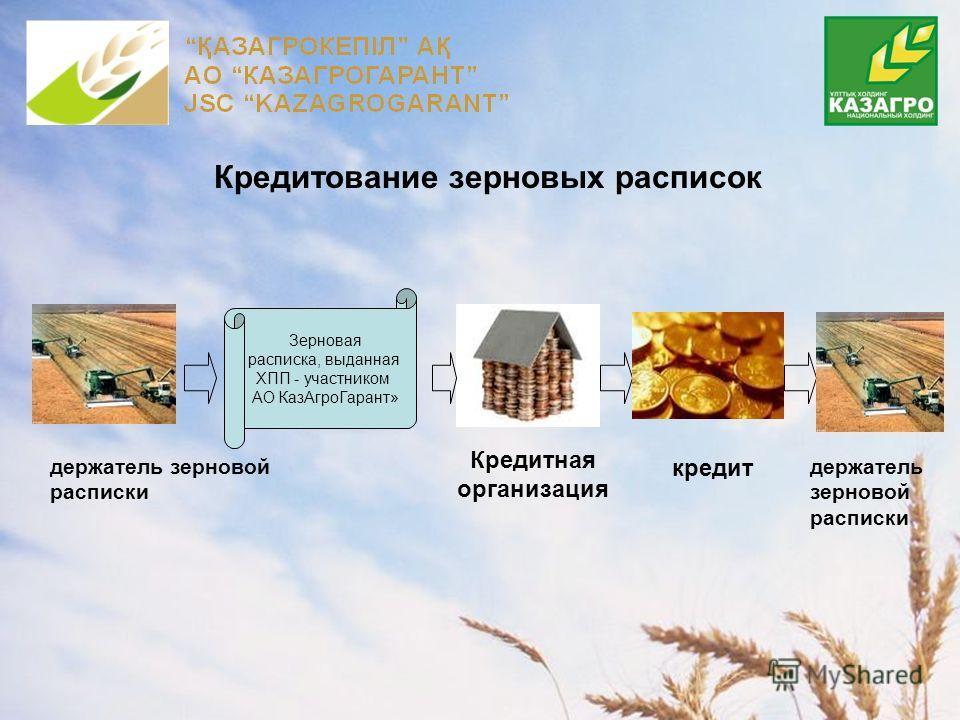 Кредитование зерновых расписок Кредитная организация держатель зерновой расписки Зерновая расписка, выданная ХПП - участником АО КазАгроГарант» кредит держатель зерновой расписки