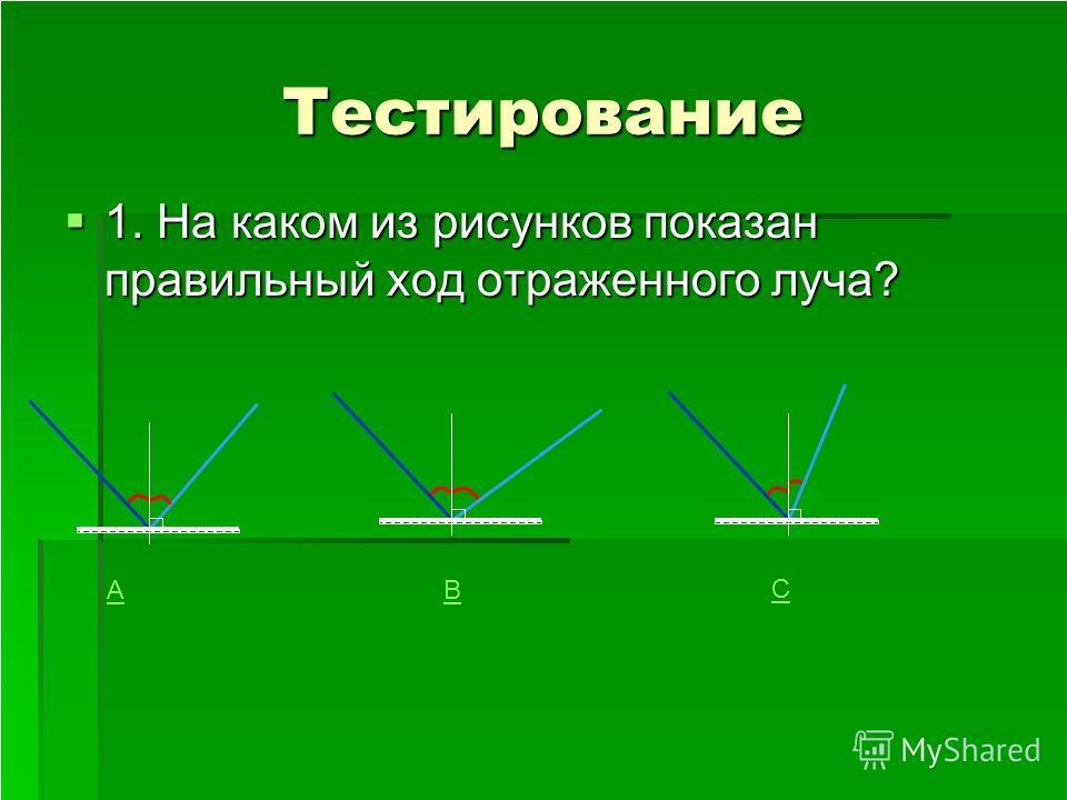 Тестирование 1. На каком из рисунков показан правильный ход отраженного луча? АВ С