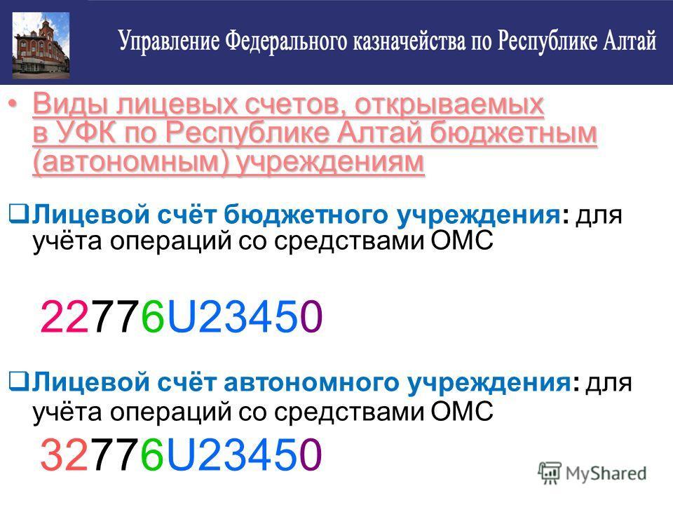 Виды лицевых счетов, открываемых в УФК по Республике Алтай бюджетным (автономным) учреждениямВиды лицевых счетов, открываемых в УФК по Республике Алтай бюджетным (автономным) учреждениям Лицевой счёт бюджетного учреждения: для учёта операций со средс
