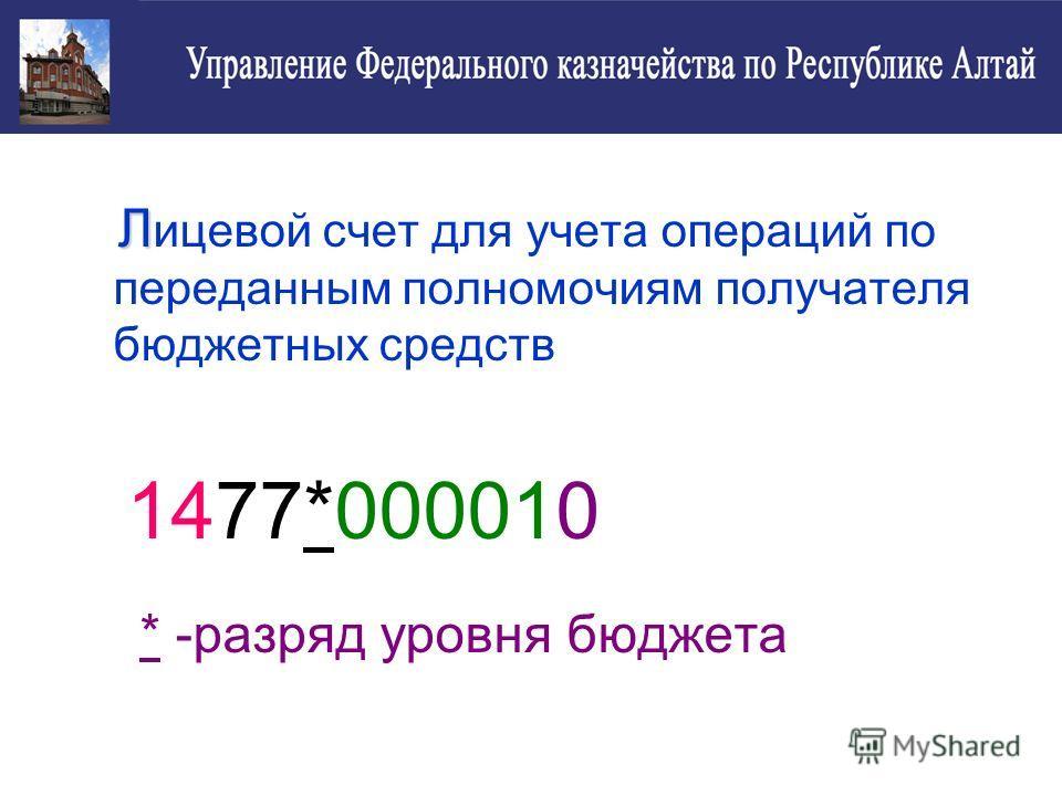 Л Л ицевой счет для учета операций по переданным полномочиям получателя бюджетных средств 1477*000010 * -разряд уровня бюджета
