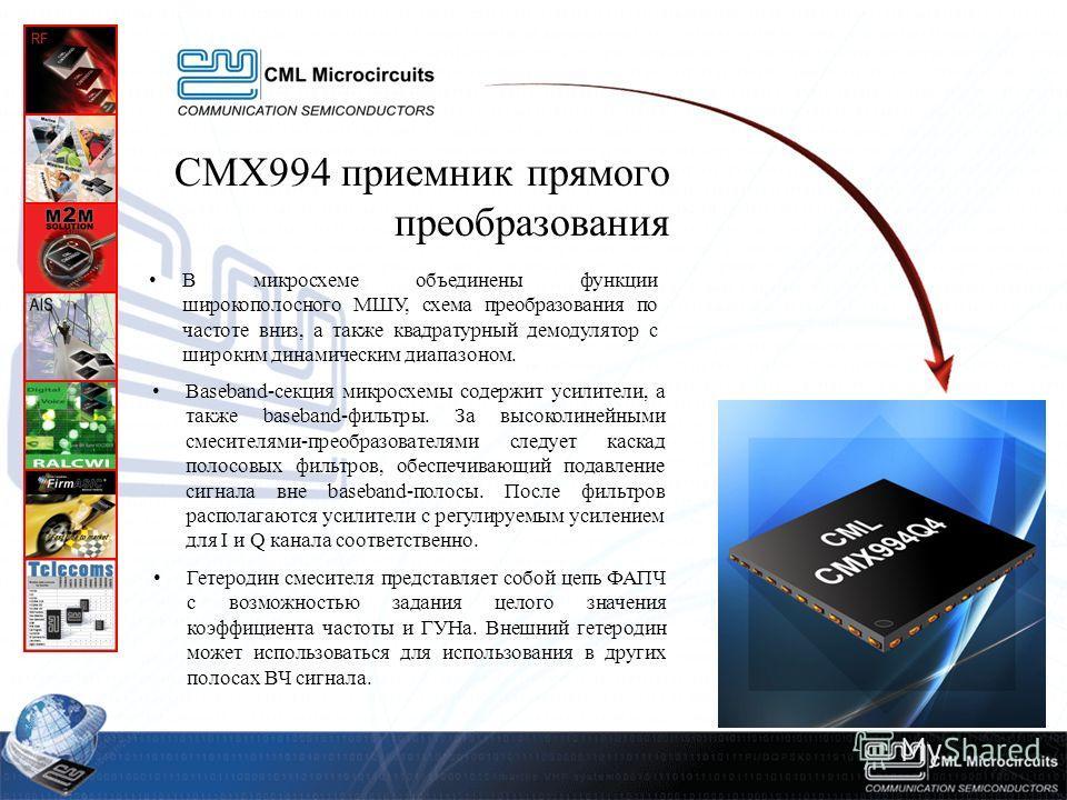 СМХ994 приемник прямого преобразования В микросхеме объединены функции широкополосного МШУ, схема преобразования по частоте вниз, а также квадратурный демодулятор c широким динамическим диапазоном. Baseband-секция микросхемы содержит усилители, а так