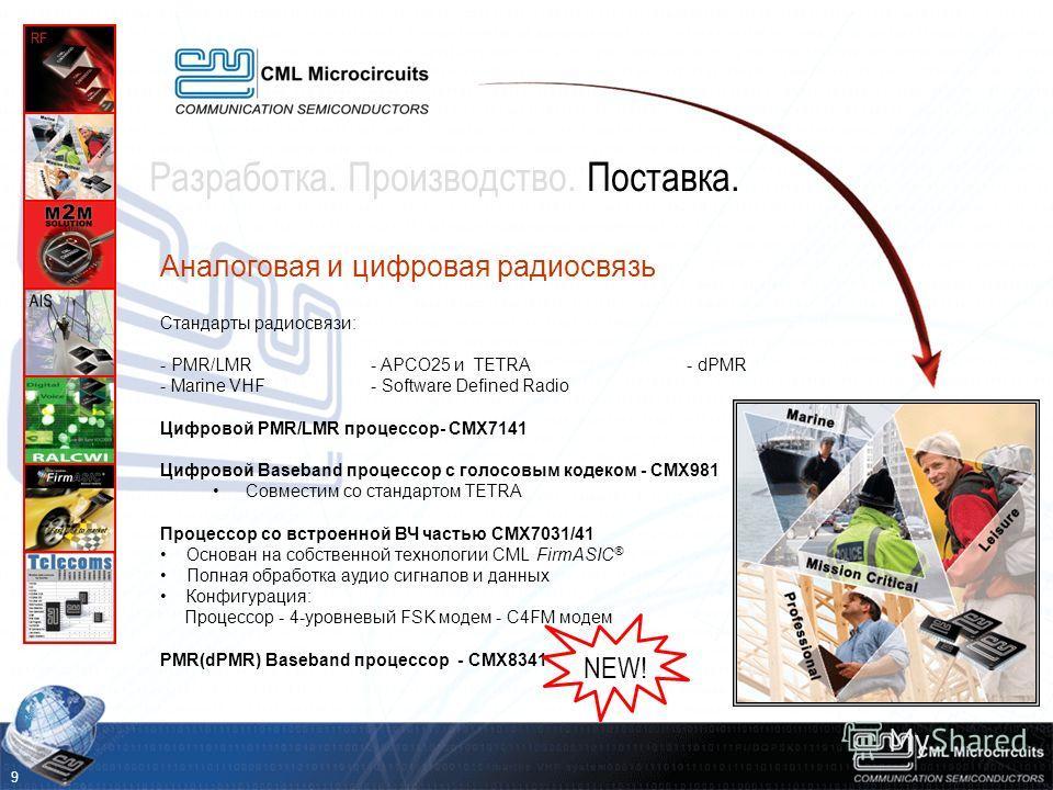 Аналоговая и цифровая радиосвязь Стандарты радиосвязи: - PMR/LMR - APCO25 и TETRA - dPMR - Marine VHF- Software Defined Radio Цифровой PMR/LMR процессор- CMX7141 Цифровой Baseband процессор с голосовым кодеком - CMX981 Совместим со стандартом TETRA П