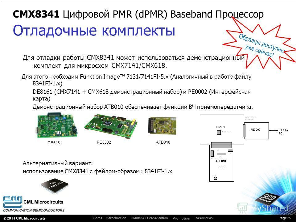 Page 25 CMX8341 Presentation Promotion ResourcesIntroductionHome © 2011 CML Microcircuits Для отладки работы CMX8341 может использоваться демонстрационный комплект для микросхем CMX7141/CMX618. CMX8341 Цифровой PMR (dPMR) Baseband Процессор Отладочны