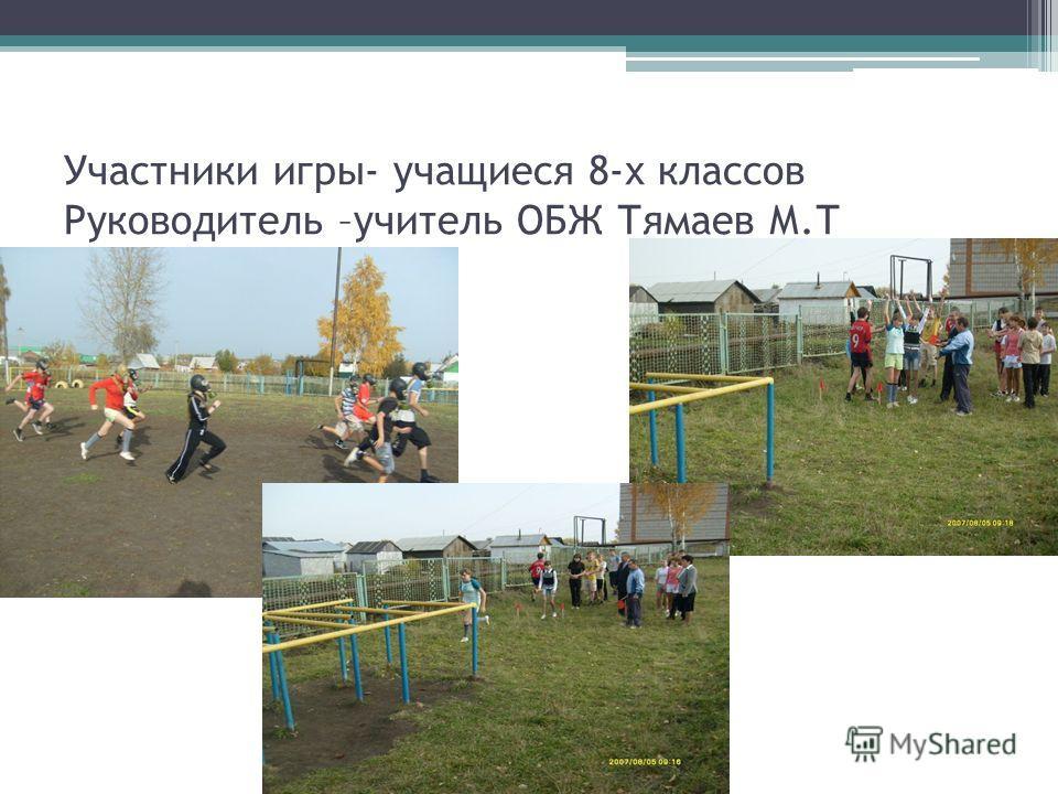 Участники игры- учащиеся 8-х классов Руководитель –учитель ОБЖ Тямаев М.Т