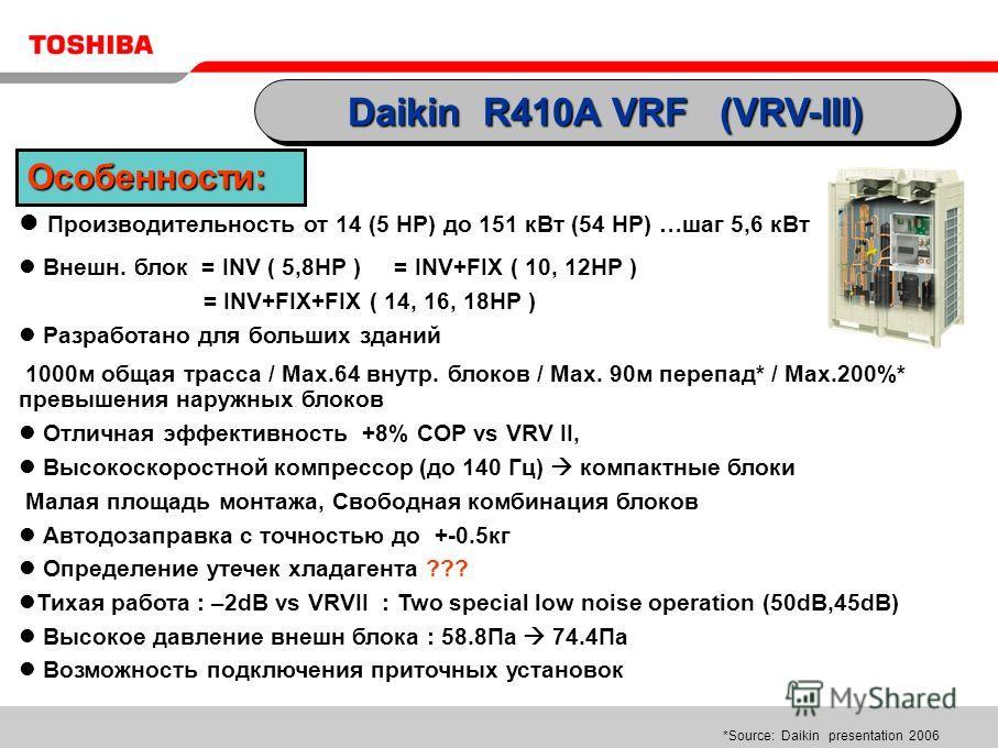 Производительность от 14 (5 НР) до 151 кВт (54 НР) …шаг 5,6 кВт Внешн. блок = INV ( 5,8HP ) = INV+FIX ( 10, 12HP ) = INV+FIX+FIX ( 14, 16, 18HP ) Разработано для больших зданий 1000м общая трасса / Max.64 внутр. блоков / Max. 90м перепад* / Max.200%*