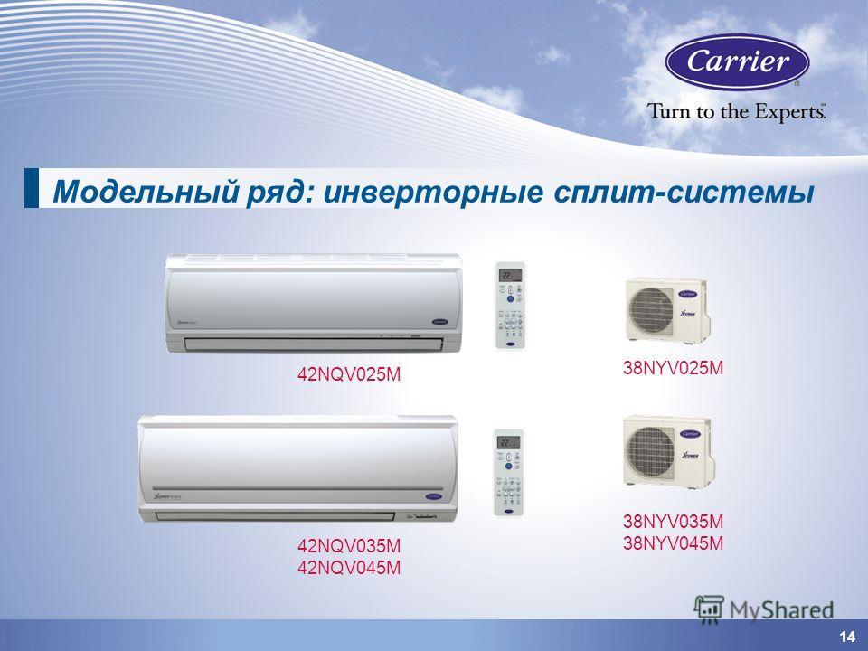 1414 42NQV025M 42NQV035M 42NQV045M 38NYV025M 38NYV035M 38NYV045M Модельный ряд: инверторные сплит-системы