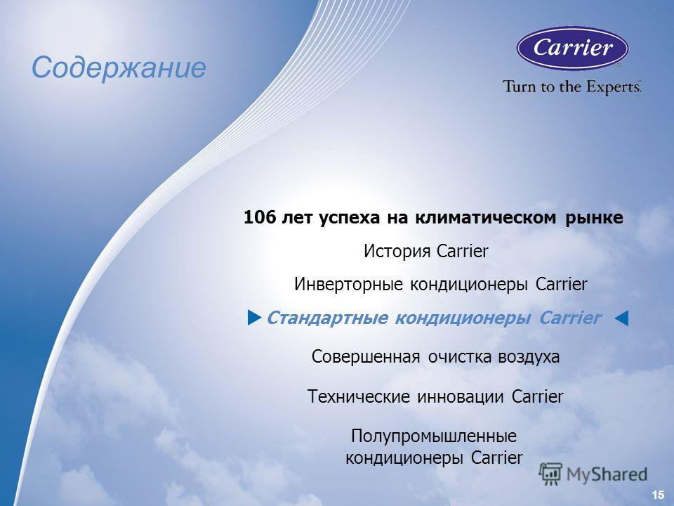 1515 Содержание История Carrier 106 лет успеха на климатическом рынке Инверторные кондиционеры Carrier Стандартные кондиционеры Carrier Совершенная очистка воздуха Технические инновации Carrier Полупромышленные кондиционеры Carrier