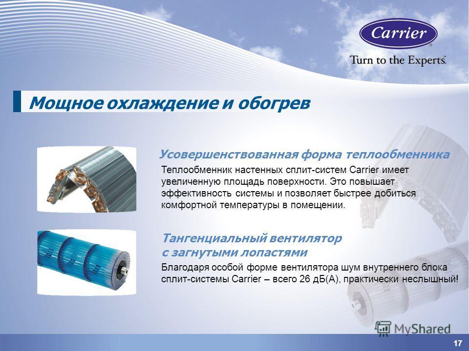 1717 Мощное охлаждение и обогрев Усовершенствованная форма теплообменника Тангенциальный вентилятор с загнутыми лопастями Теплообменник настенных сплит-систем Carrier имеет увеличенную площадь поверхности. Это повышает эффективность системы и позволя